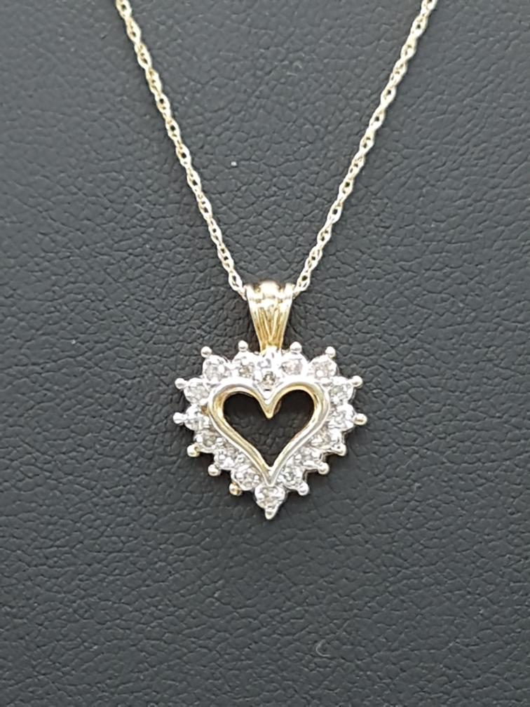 15 Jan 2020 – 10K Necklace with diamond heart pendant – $99