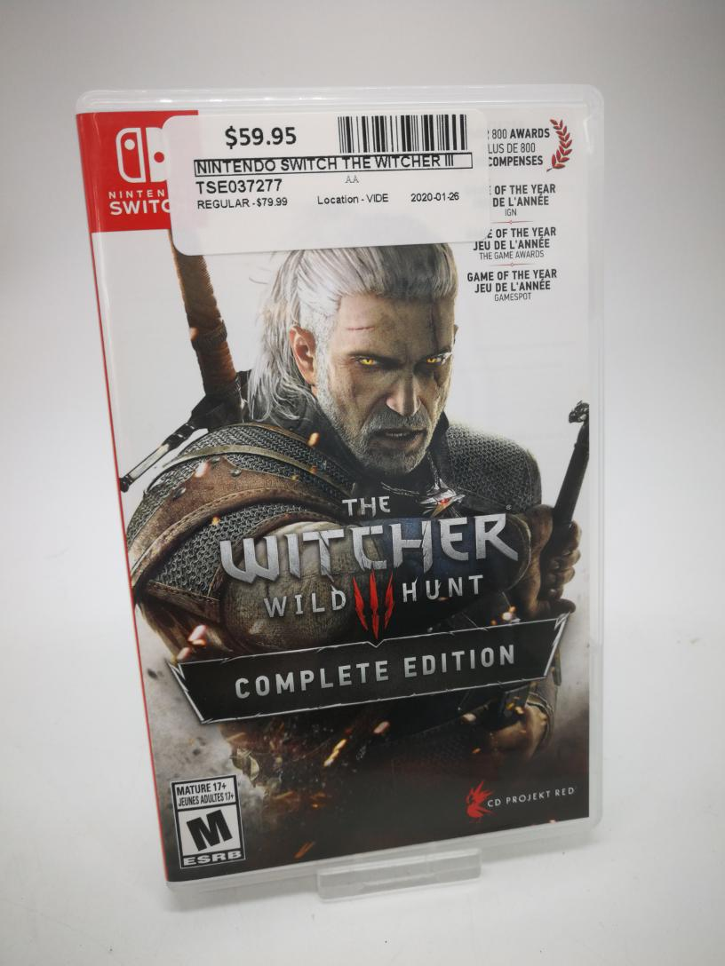 26 Jan 2020 – Nintendo Switch Game The Witcher 3 – $59