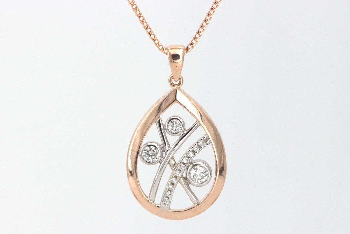 Thurs Apr 8 – 14K Rose Gold and Diamond Pendant w/chain – $649