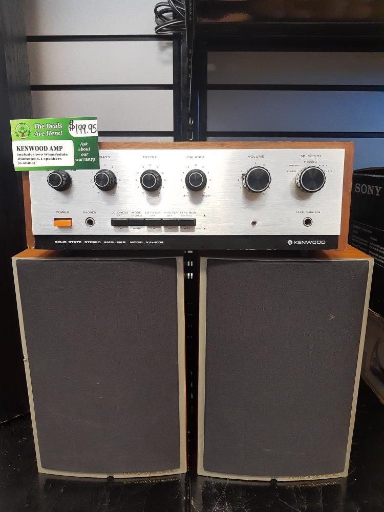 Tues June 29 – Vintage Kenwood KA-4002 Amplifier w/speakers – $199