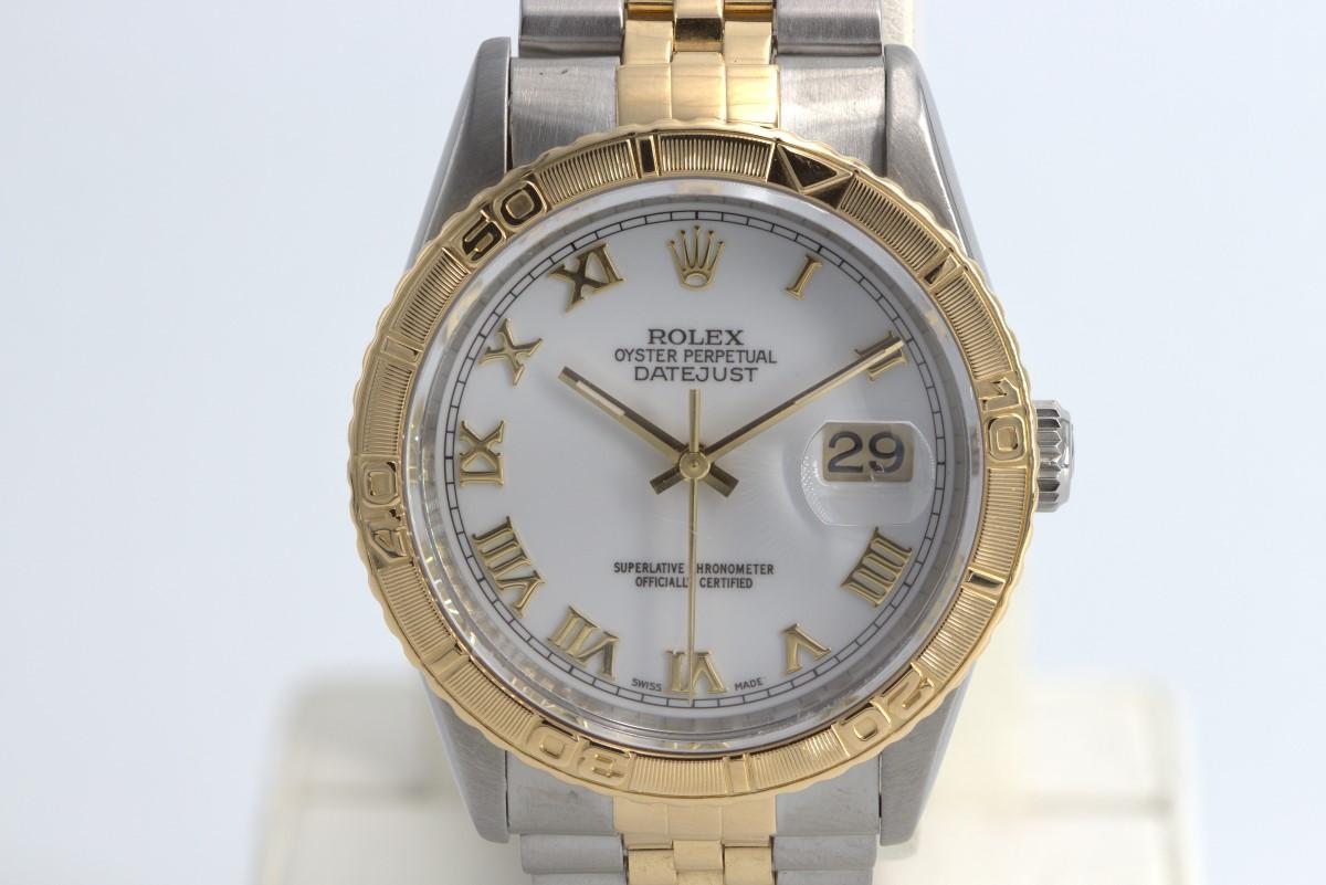 Mon July 26 – Rolex 36mm Datejust Turnograph Thunderbird 18k & ss – $6995