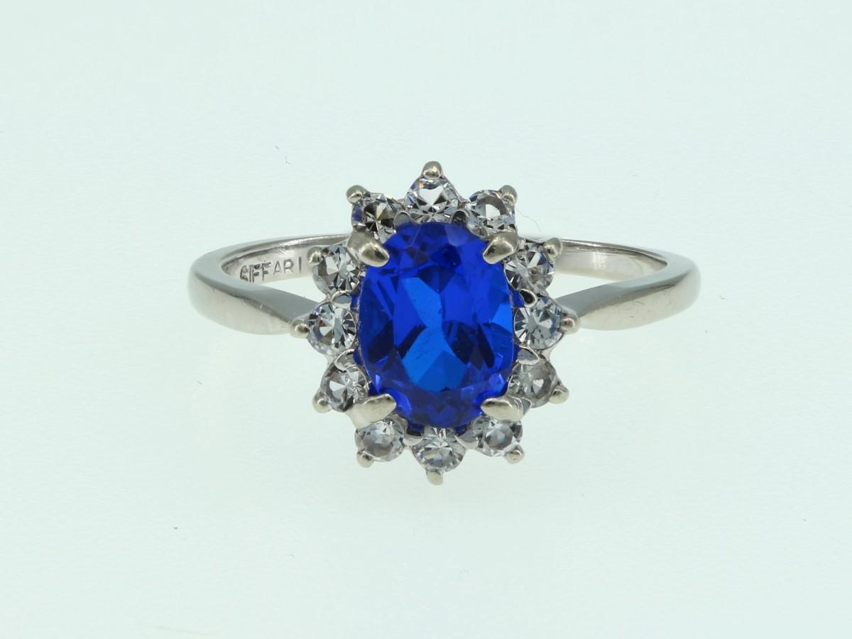 Tues Aug 3 – 10K White Gold Blue Stone Fashion Ring – $139