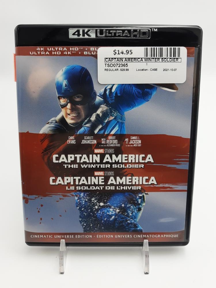 Fri Oct 8 – Captain America Winter Soldier 4K Ultra Bluray – $14